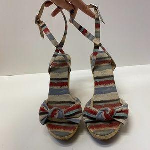 Splendid Multicolor Striped Fabric Stap Sandals